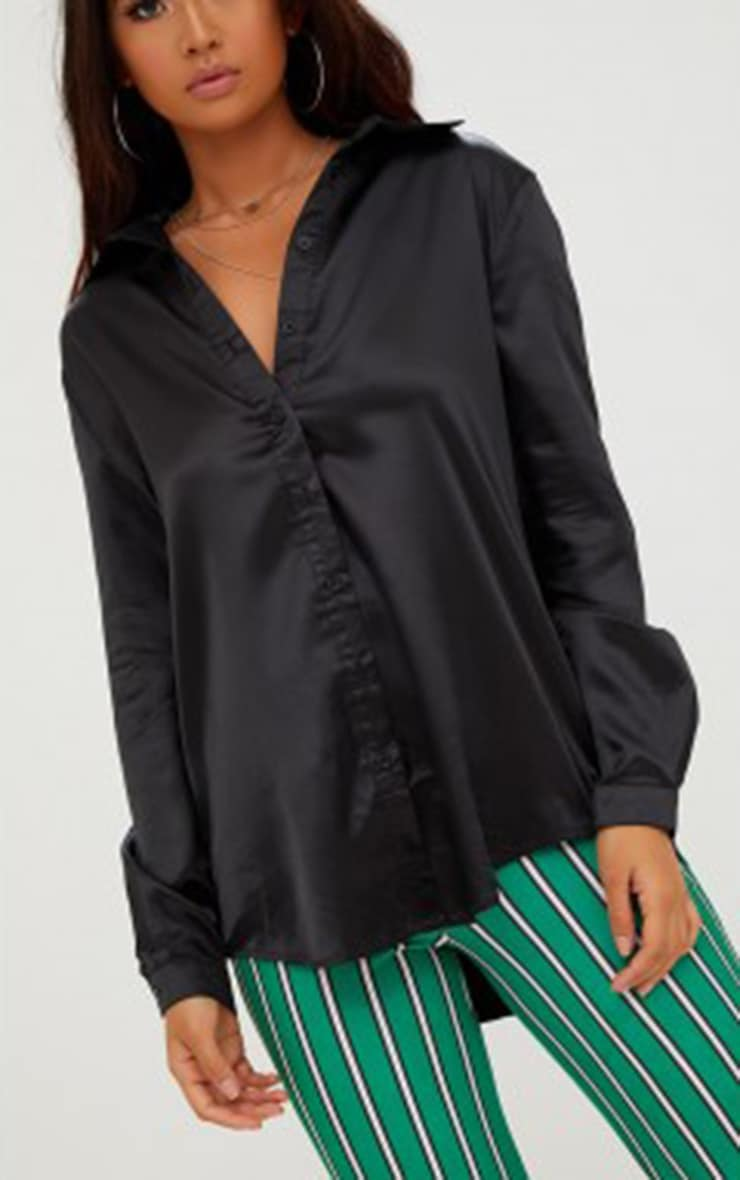 Black Satin Button Front Shirt 5