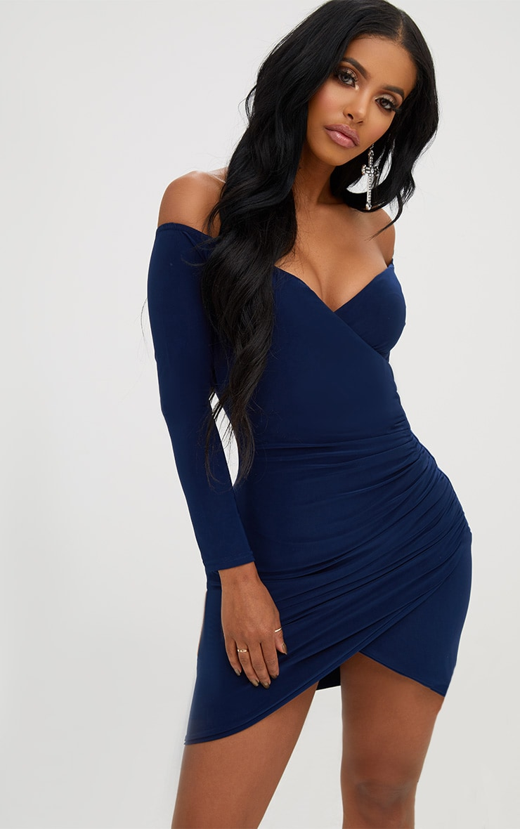 Shape Navy Ruched Bardot Bodycon Dress 1