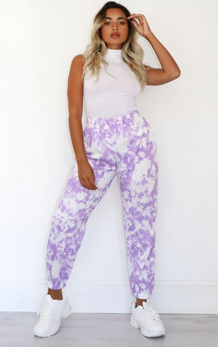 Petite Lilac Tie Dye Joggers 1