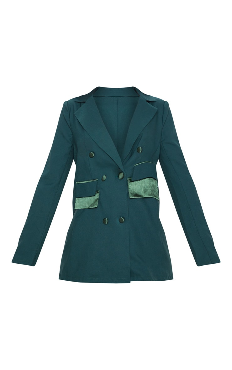 Dark Green Triple Breasted Oversized Blazer 3