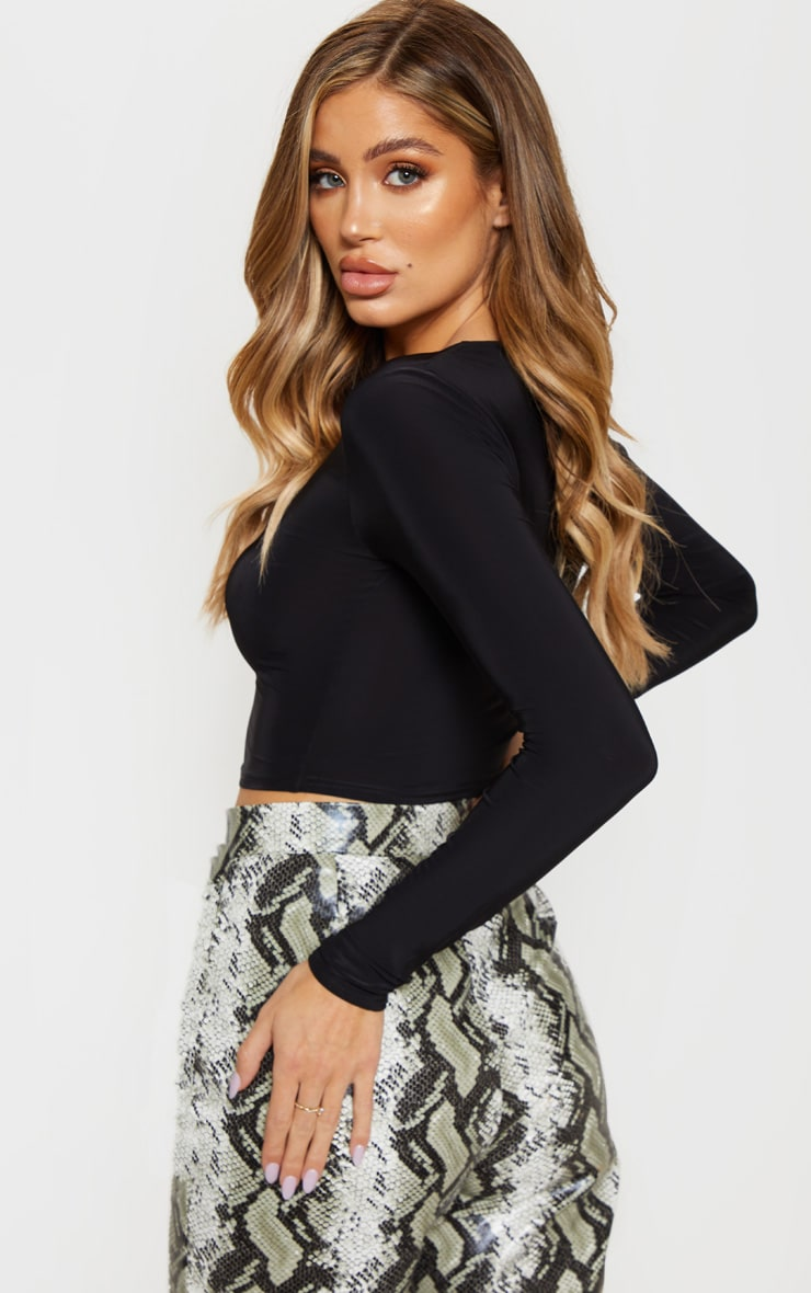 Black Slinky Asymmetric Long Sleeve Crop Top 2