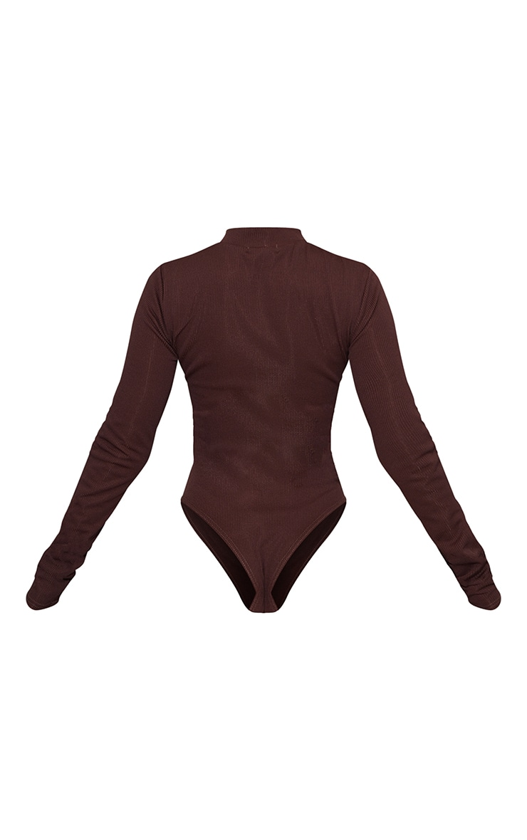 PRETTYLITTLETHING Chocolate Embroidered Rib Zip Up Long Sleeve Bodysuit 6