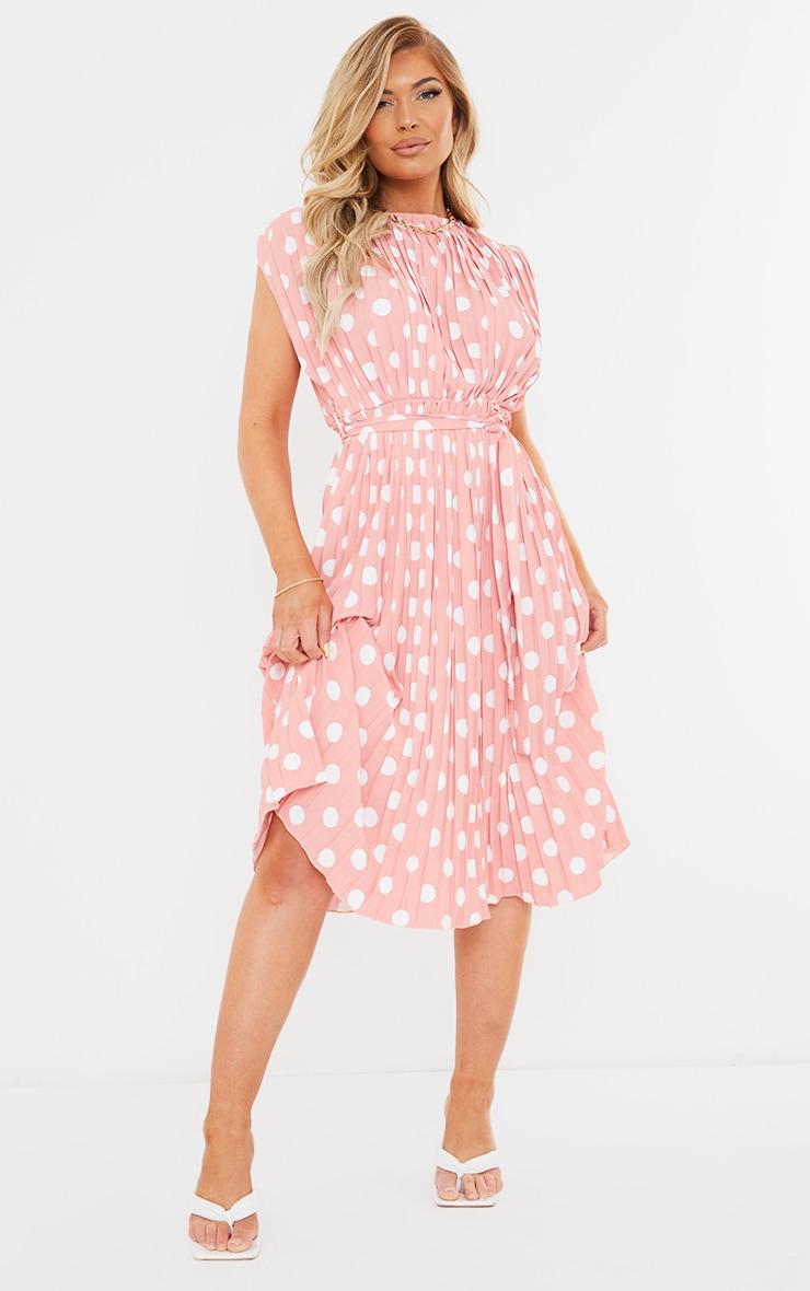 Dusty Pink Polka Dot Pleated Sleeveless Midi Dress 1