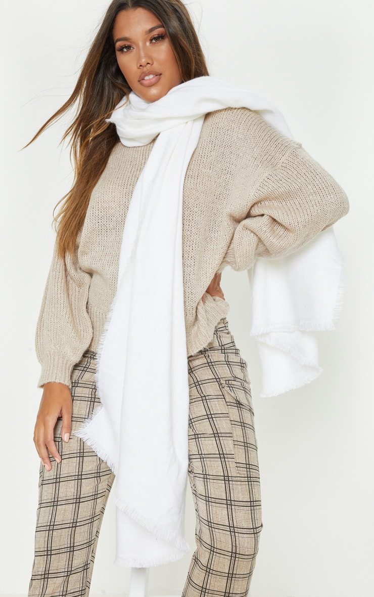 White Solid Plain Scarf