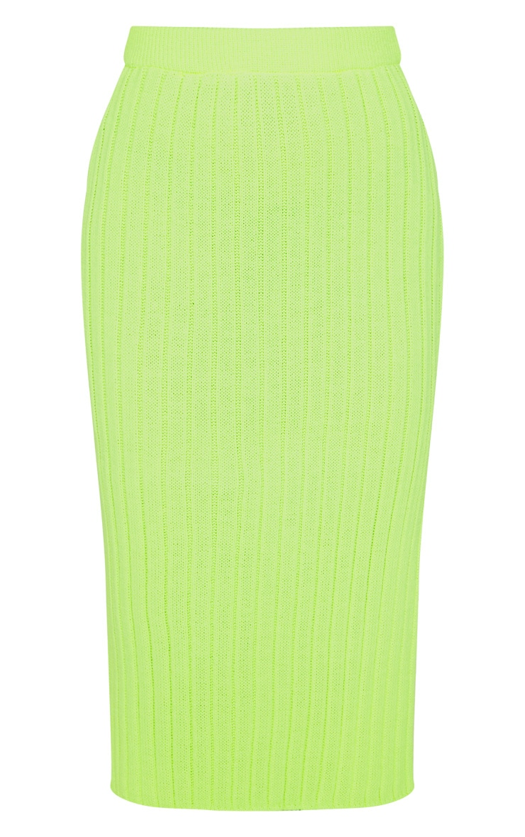 Neon Lime Knitted Ribbed Midi Skirt 3