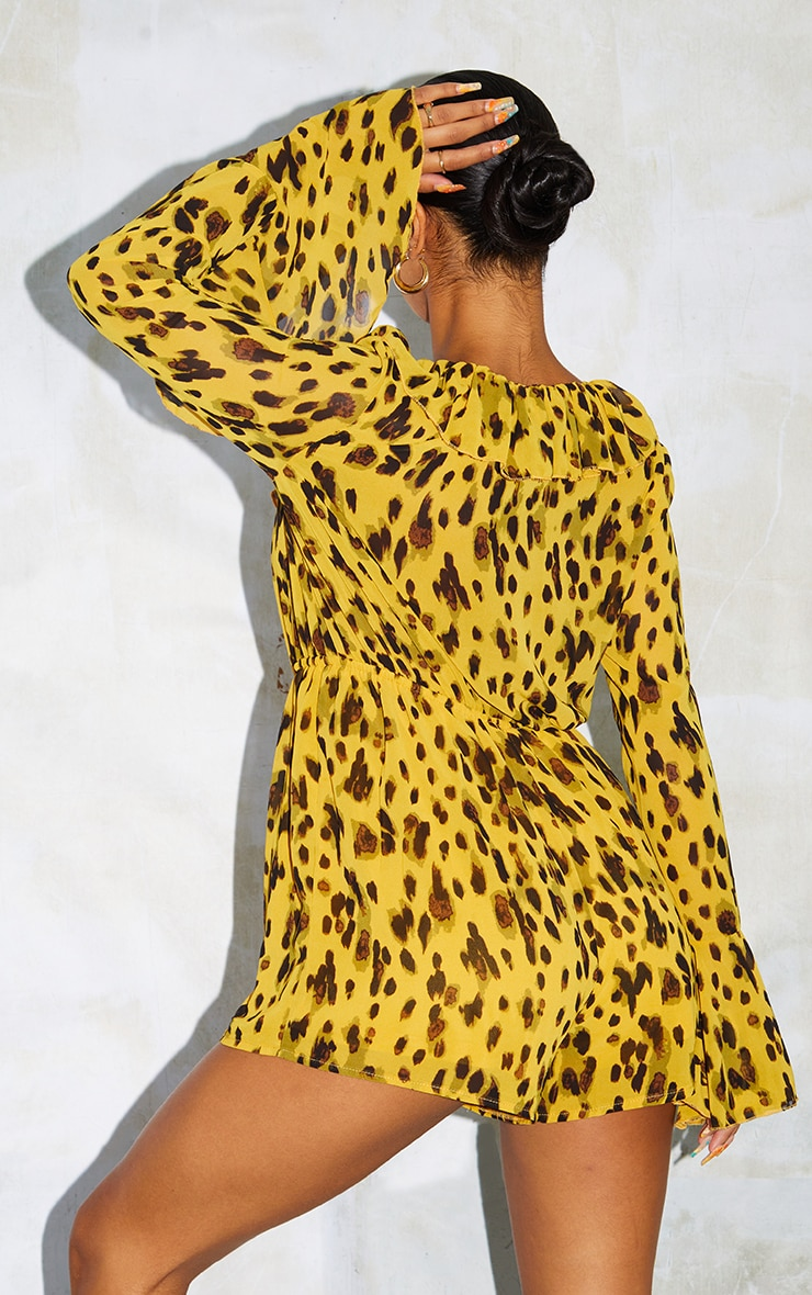 Leopard Print Flare Sleeve Button Detail Romper 2