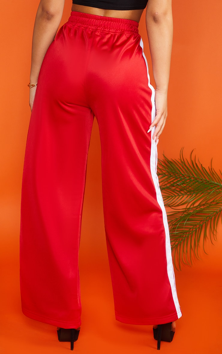 Petite Red Sports Stripe Wide Leg Joggers 2