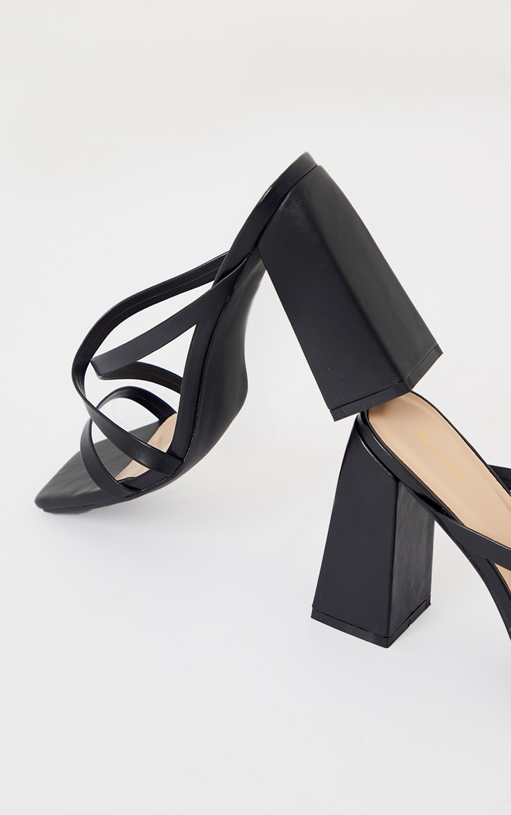Black Wide Fit Flare High Block Heel Strappy Mules 4