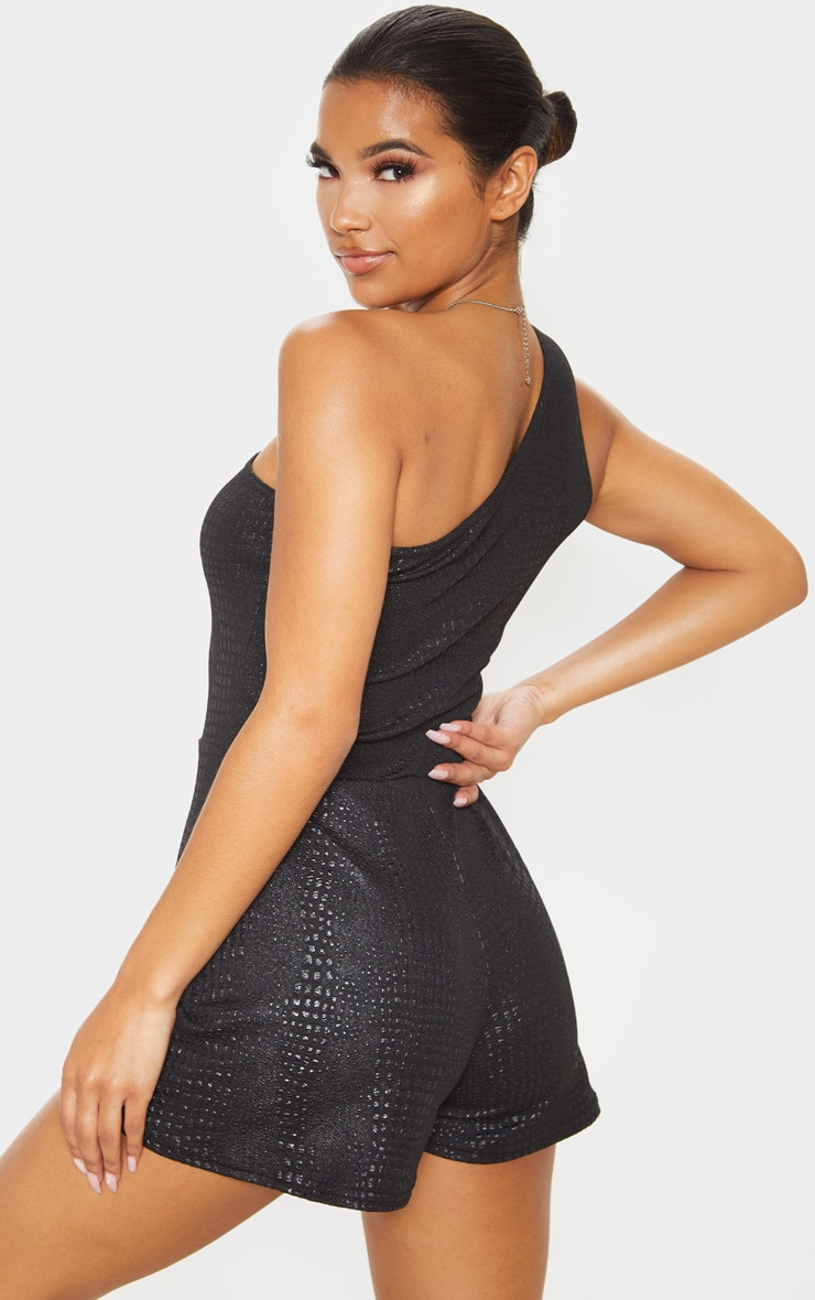 Black Croc Print One Shoulder Romper 2
