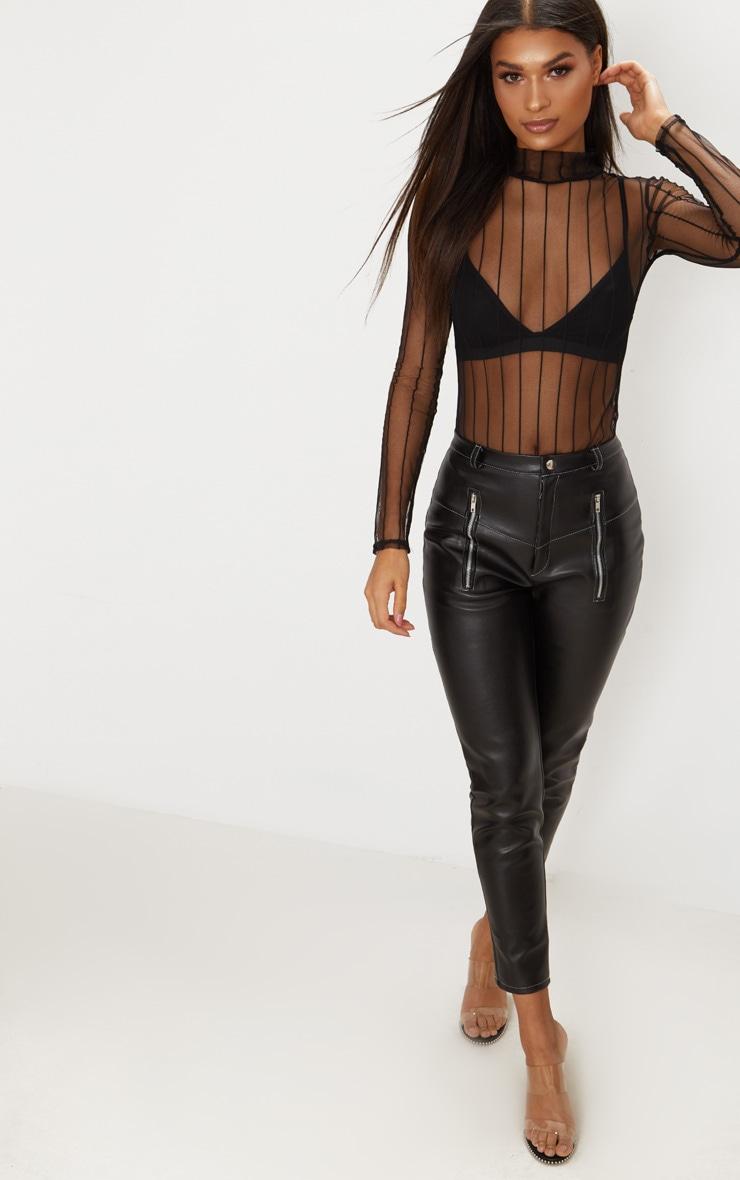 Black Mesh High Neck Stripe Thong Bodysuit 3
