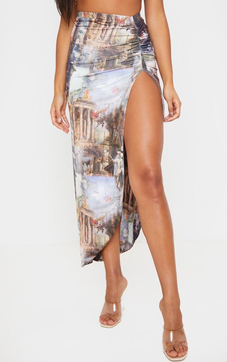 Multi Renaissance Ruched Side Split Midaxi Skirt 2