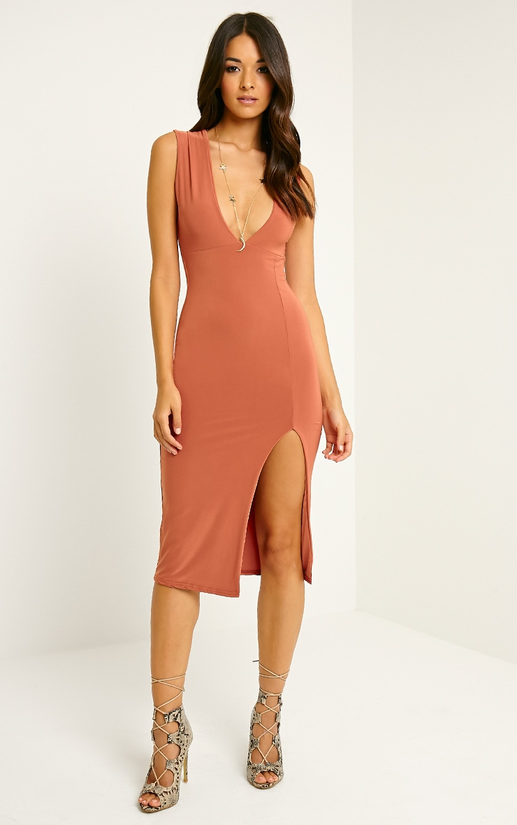 Christa Rust Sleeveless Plunge Split Front Midi Dress 1