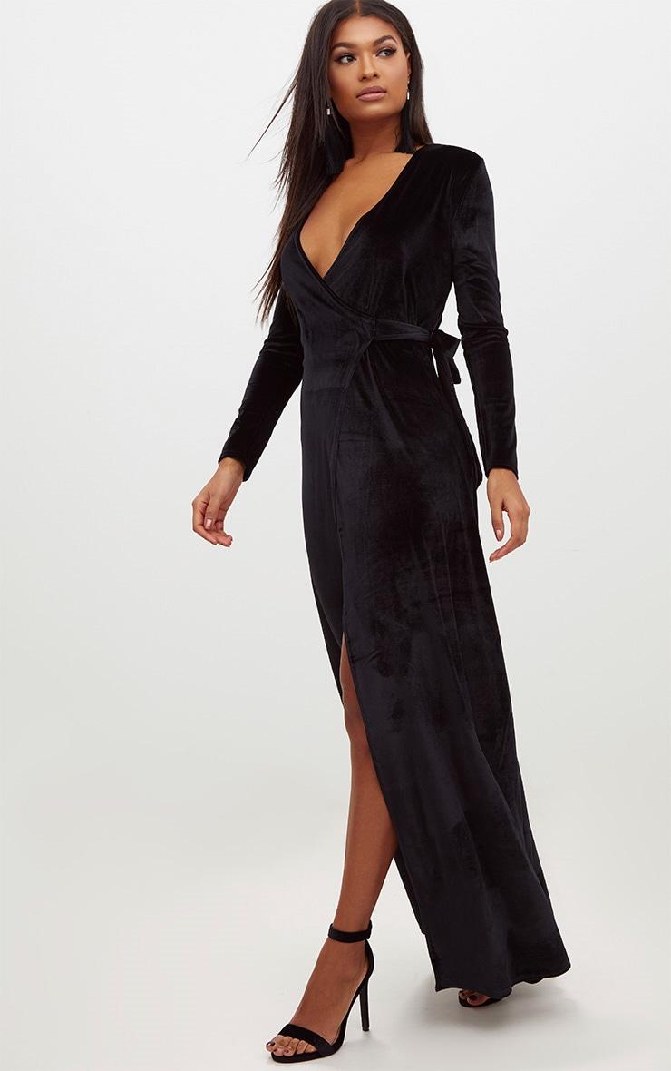 Black Velvet Wrap Kimono Style Maxi Dress Prettylittlething