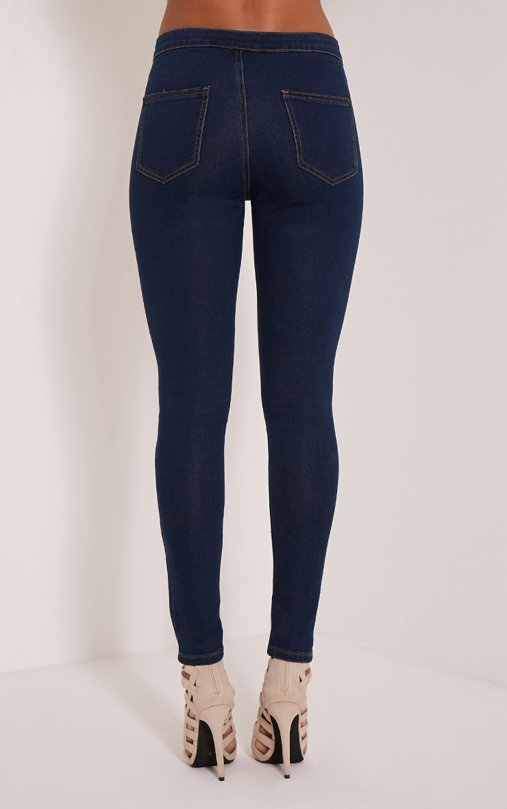 Dark Blue Wash High Waisted Skinny Jeans 5