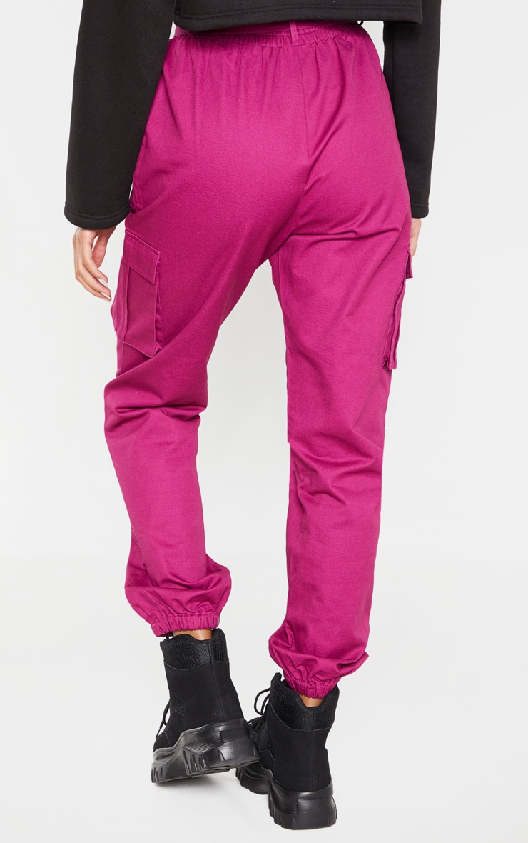 Washed Violet Utility Buckle Belt Track Pants 4