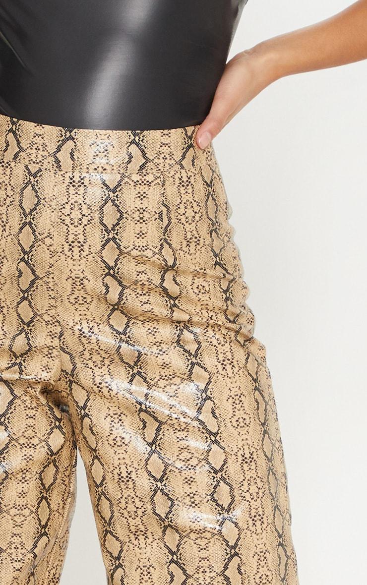 Petite Taupe PU Snake Print Wide Leg Pants 5