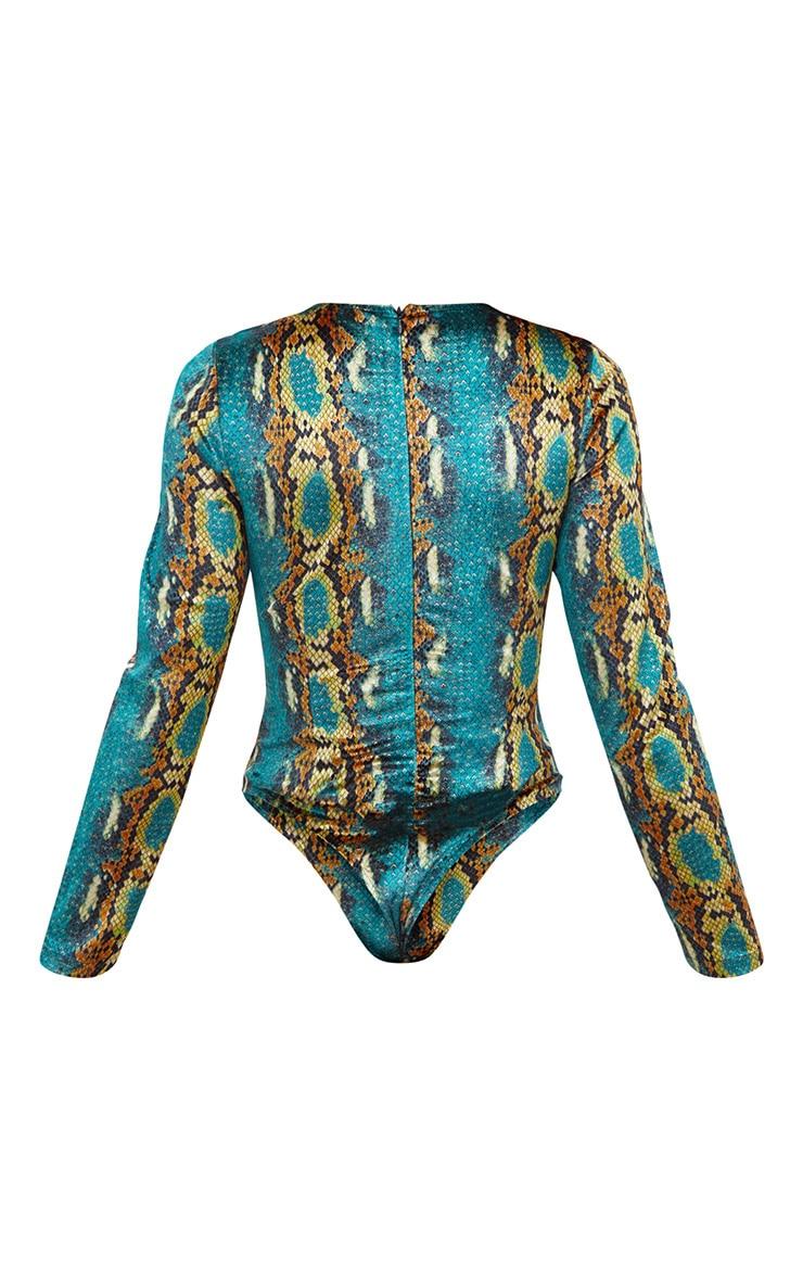 Green Velvet Snake Print Longsleeve Thong Bodysuit 4