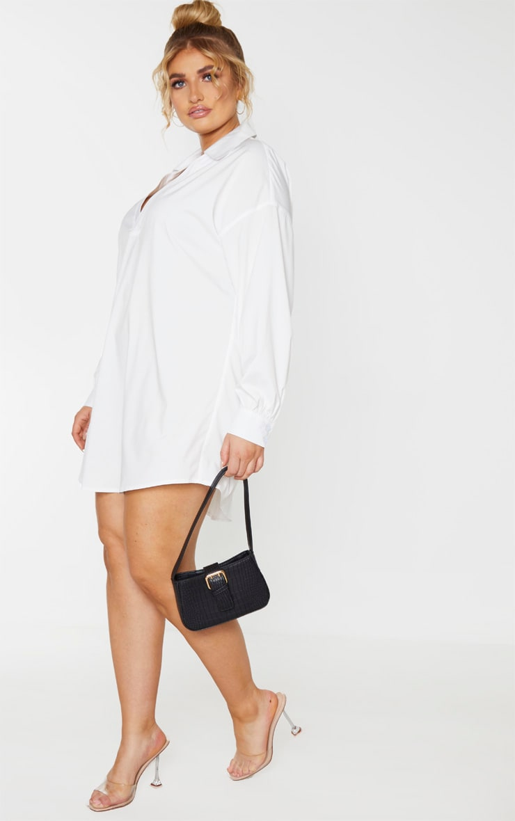 Plus White V Neck Plunge Shift Dress 4