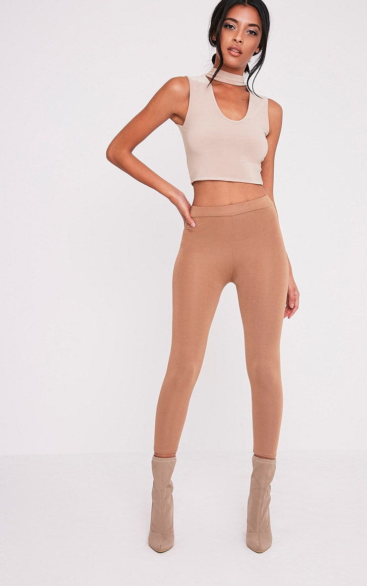 Melrose Nude Cut Out Neck Slinky Crop Top 5