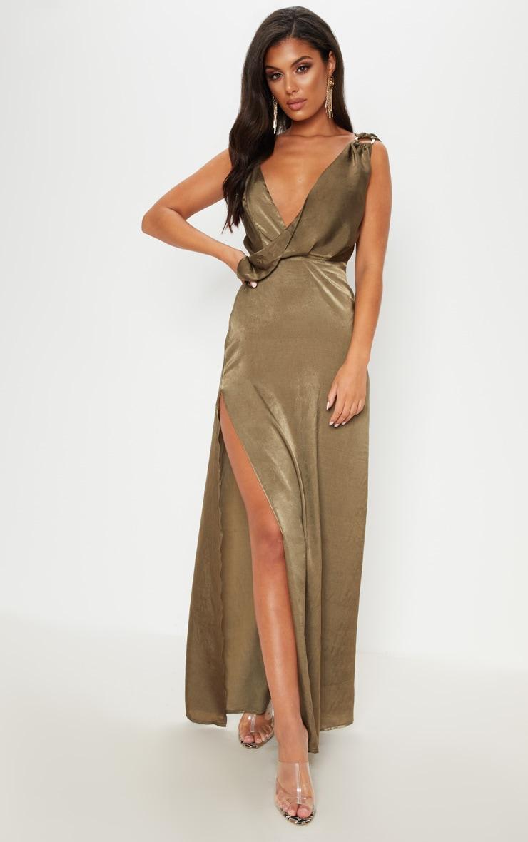 Khaki Satin Asymmetric Ring Detail Maxi Dress
