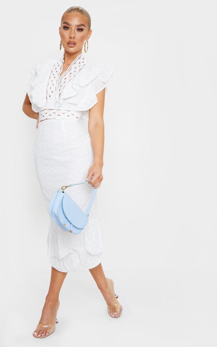 White Broderie Anglaise Trim Detail Midi Dress 3