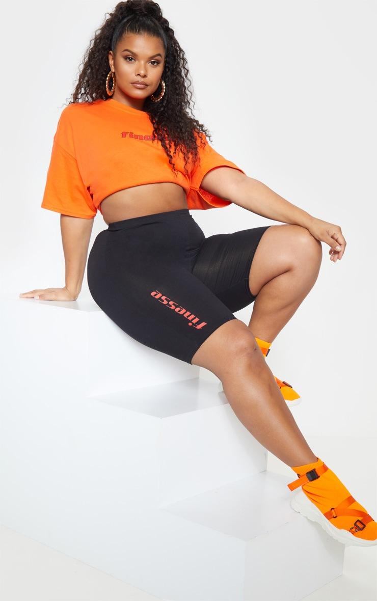 Plus Black Slogan Bike Shorts 2