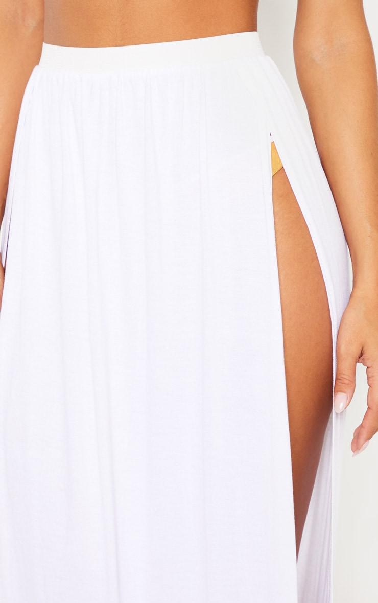 White Jersey Double Split Beach Skirt 5