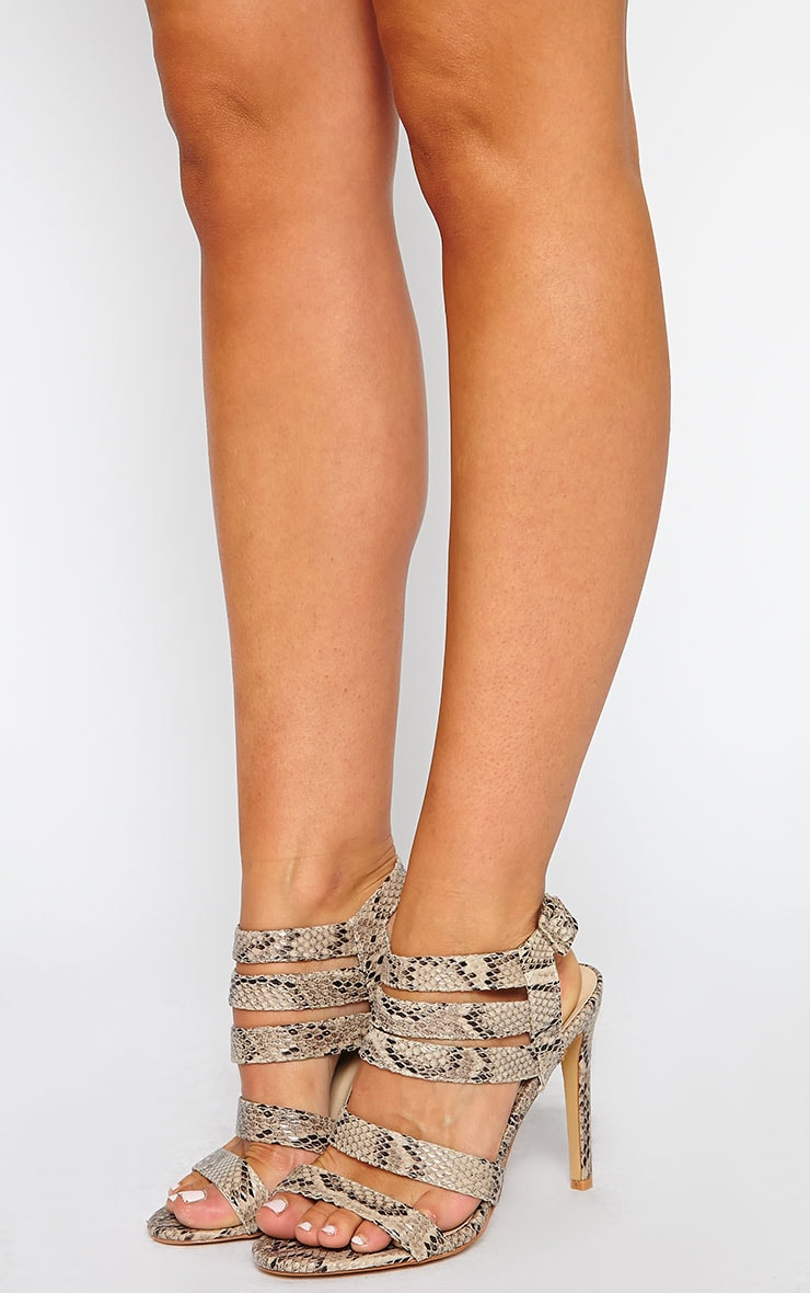 Jemimah Snake Effect Strappy Heeled Sandal 1