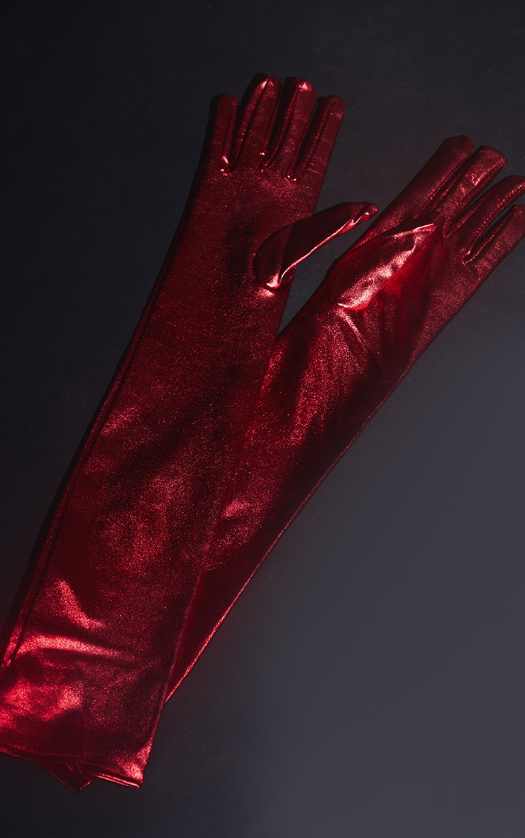 Red Leather Look Gloves 2