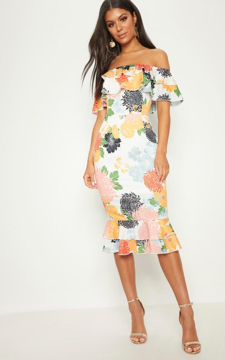 White Oriental Floral Print Frill Bardot Midi Dress  1