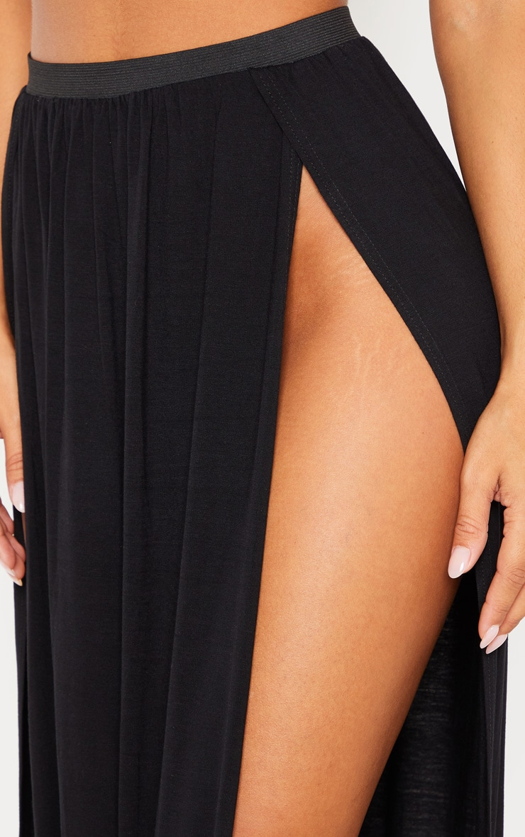 Black Jersey Double Split Beach Skirt 5