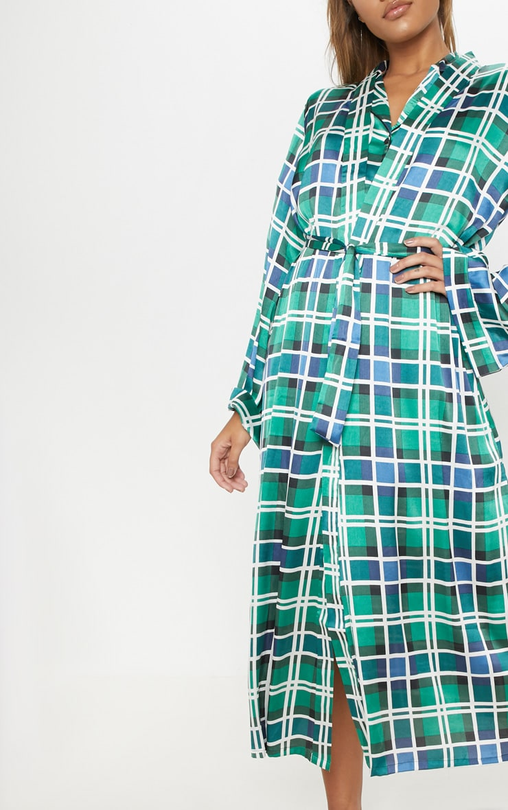 Green Check Print Long Sleeve Satin Robe 5