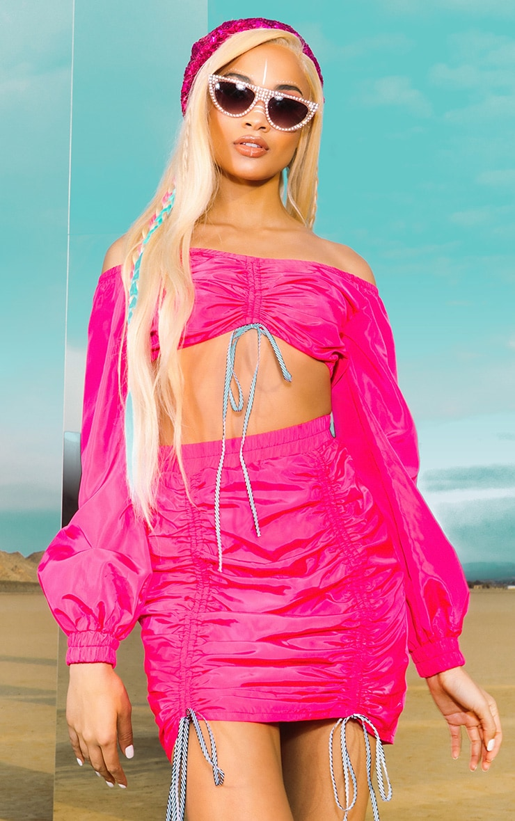 Bright Pink Ruched Front Shell Bardot Crop Top 1