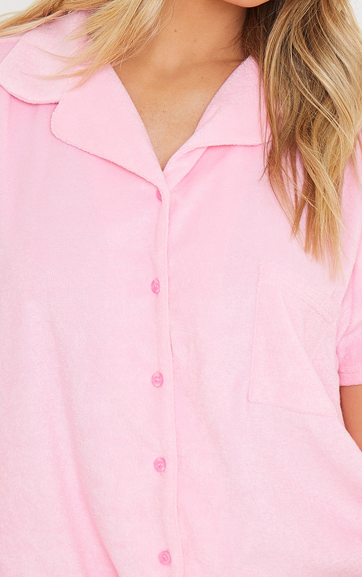 Pink Towelled Mix And Match Short Sleeve Button Up Lounge Top 4