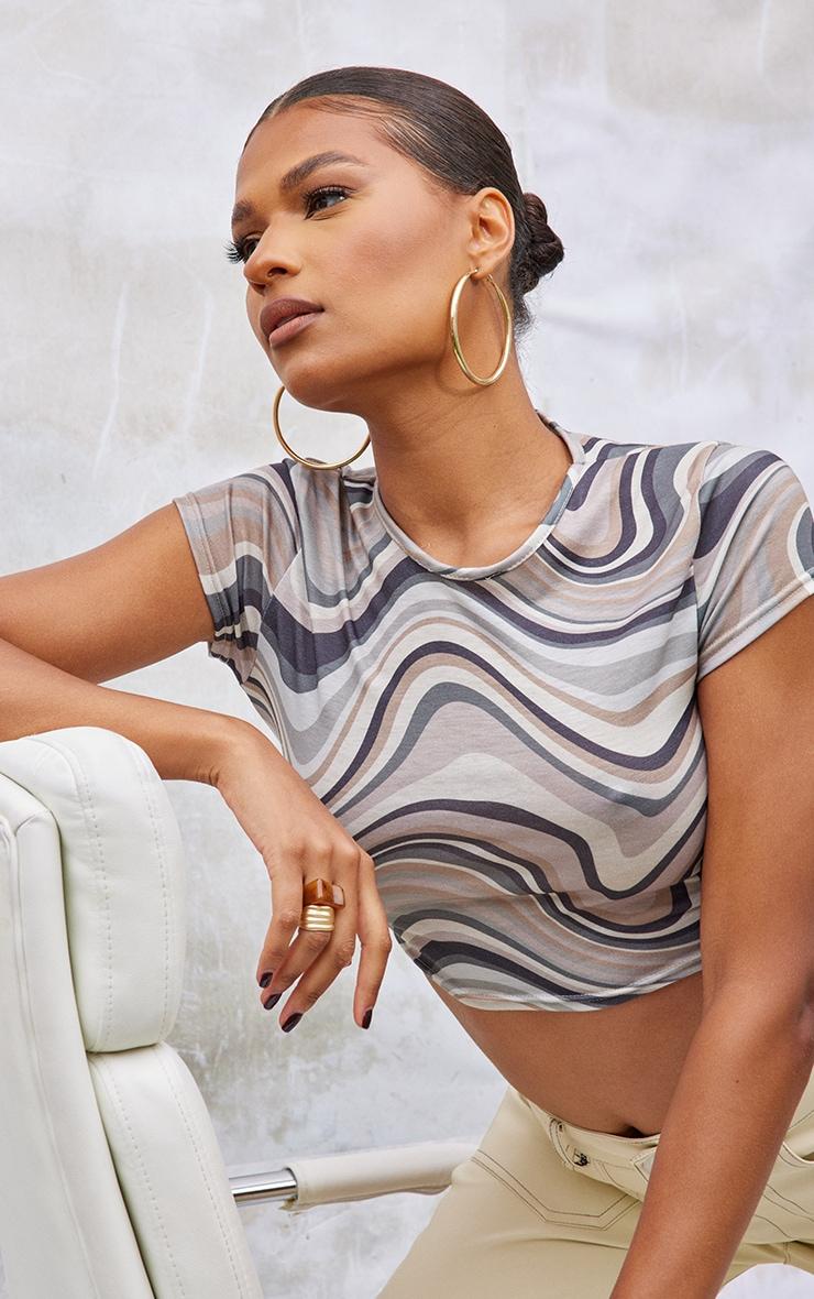 Brown Swirl Print Basic Short Sleeve Crop T Shirt 1