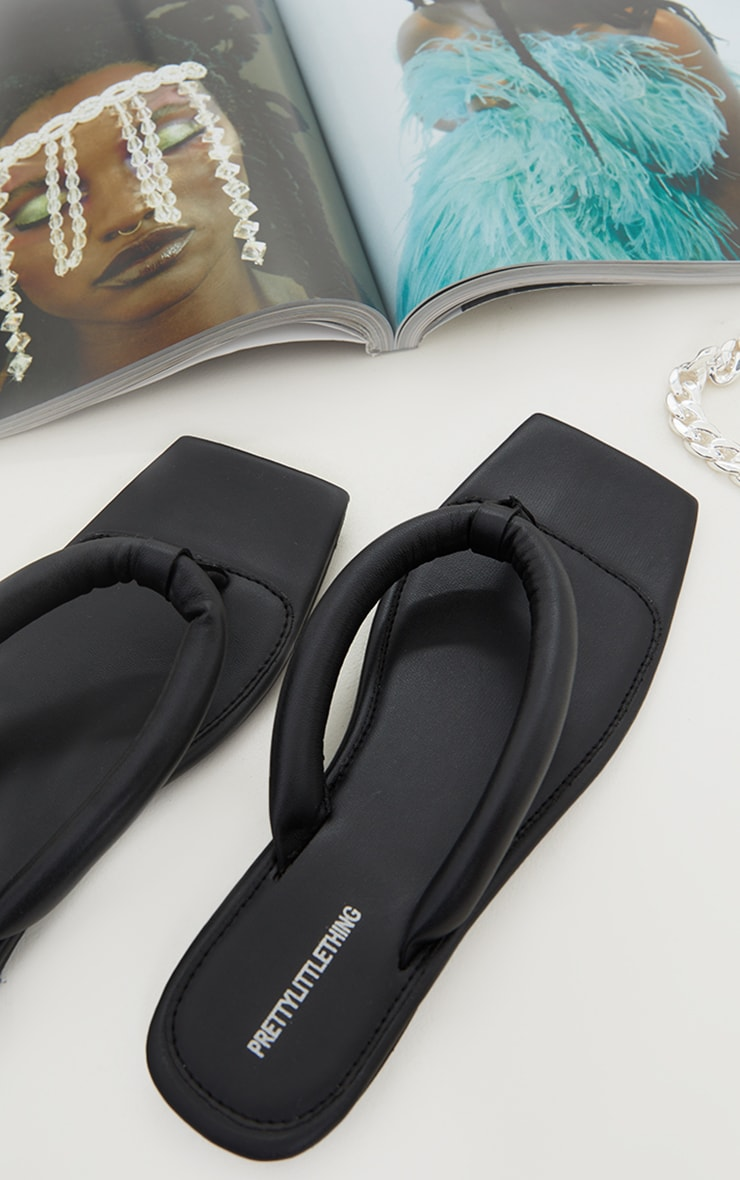 Black Real Leather Padded Strap Square Toe Flip Flop 3