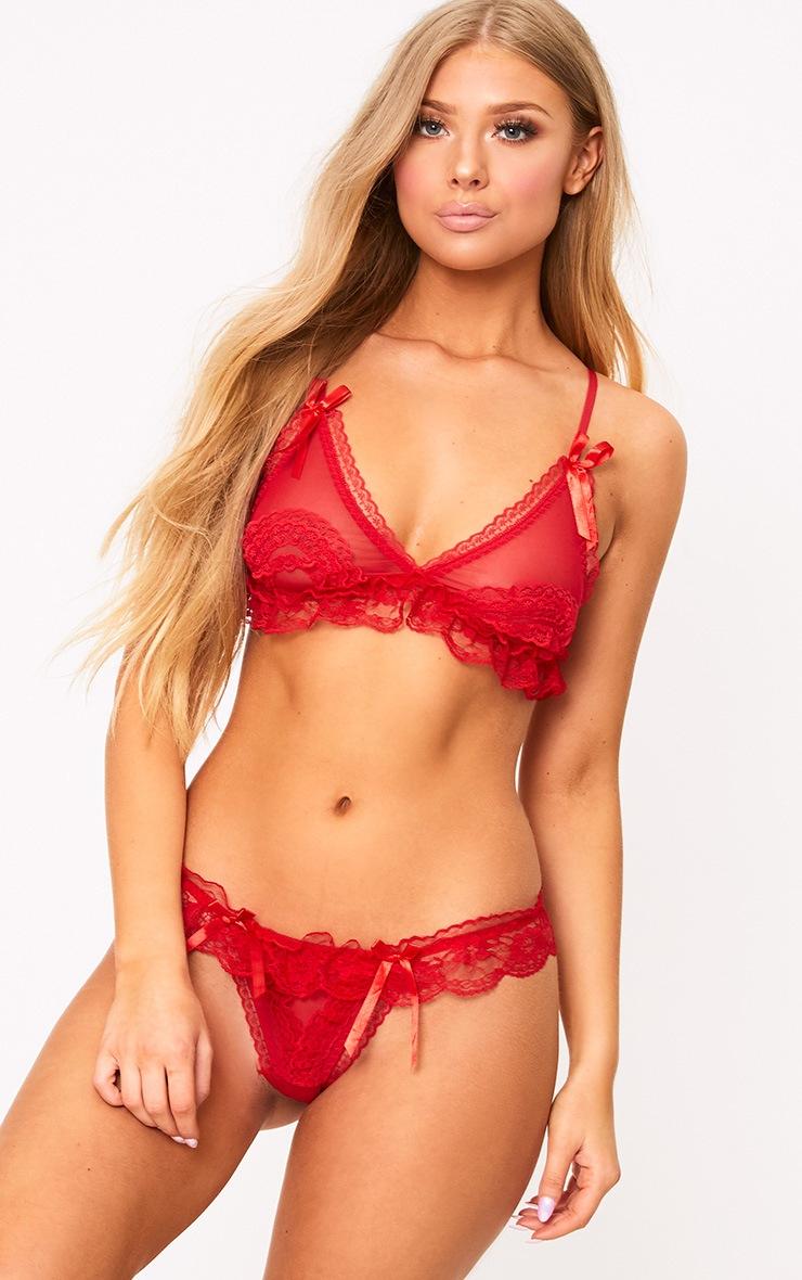 Red Contrast Lace Lingerie Set 1