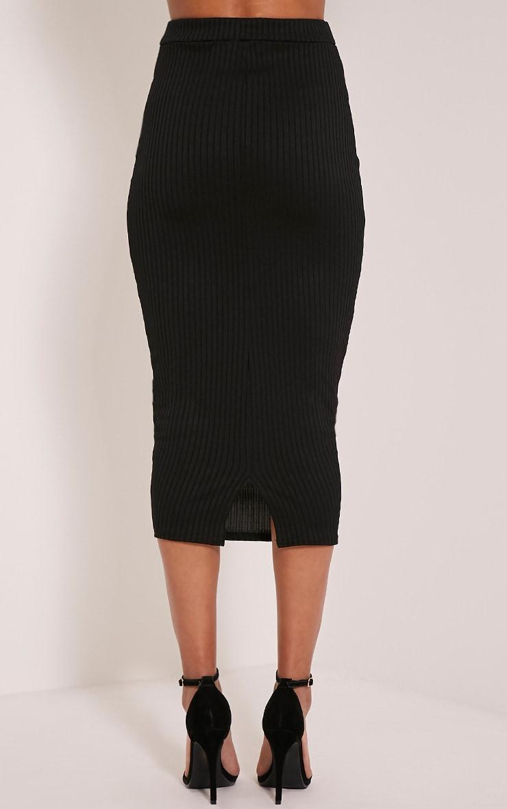 Esta Black Pocket Ribbed Longline Midi Skirt 5