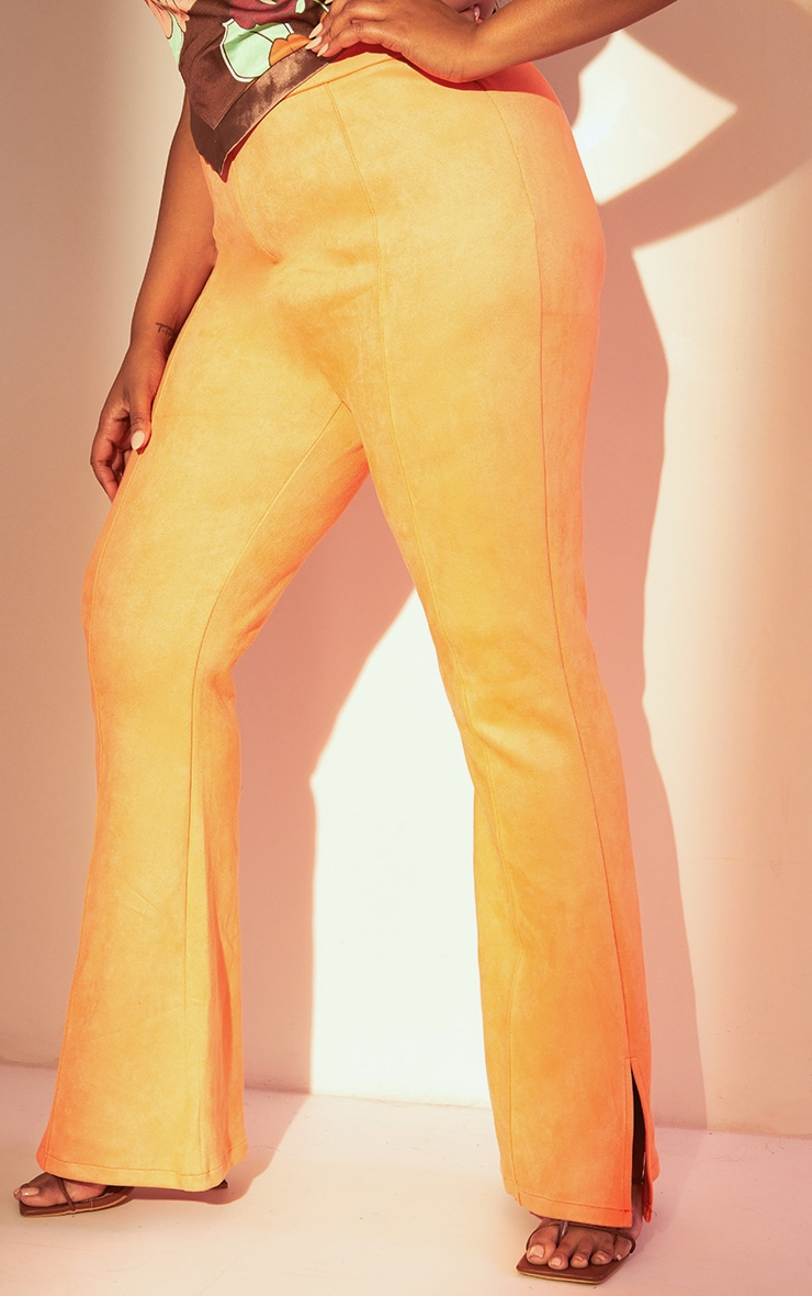 Plus Coral Bonded Suede Flare Pants 2
