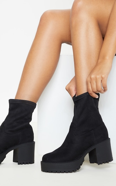 f88adb9a148 Black Faux Suede Chunky Sock Boot