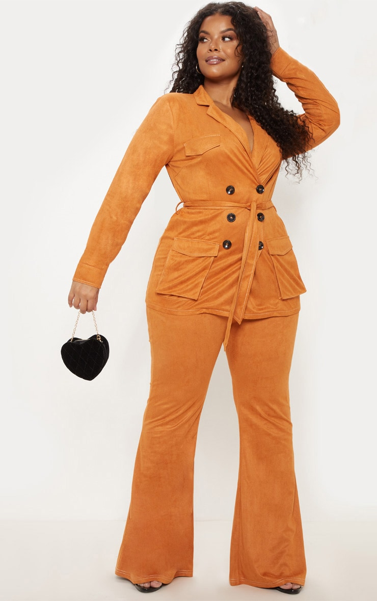 Plus Toffee High Waisted Flare Leg Trousers 1