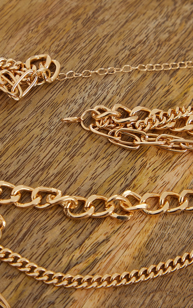 Gold Three Assorted Chain Layering Necklace 4