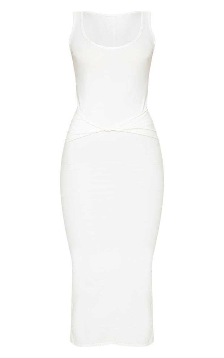 Cream Cotton Sleeveless Twist Waist Midi Dress 5