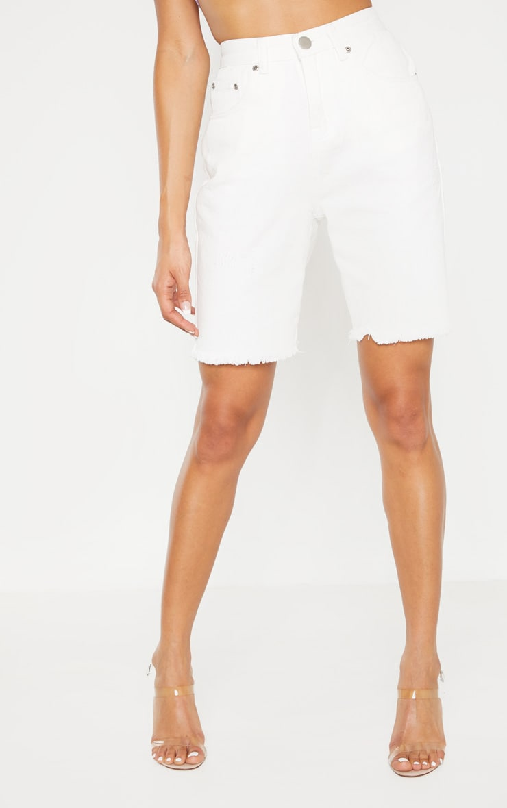 White Denim Cycle Shorts 2