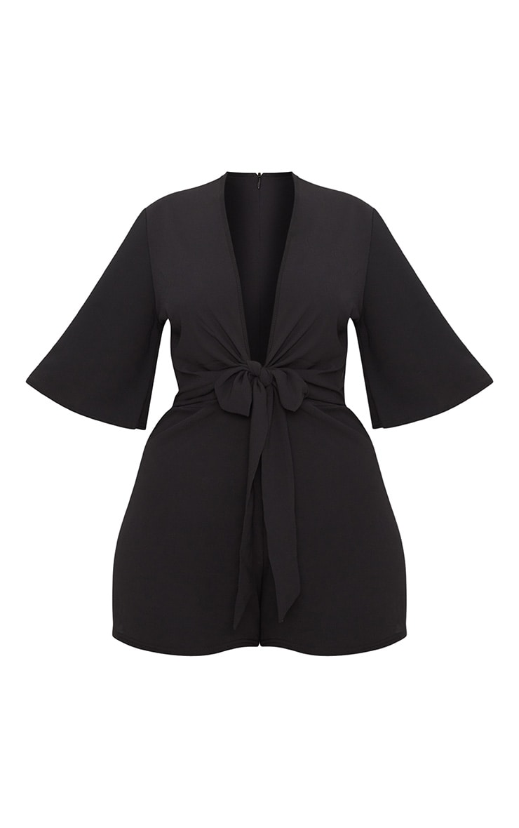 Plus Black Tie Waist Playsuit 3