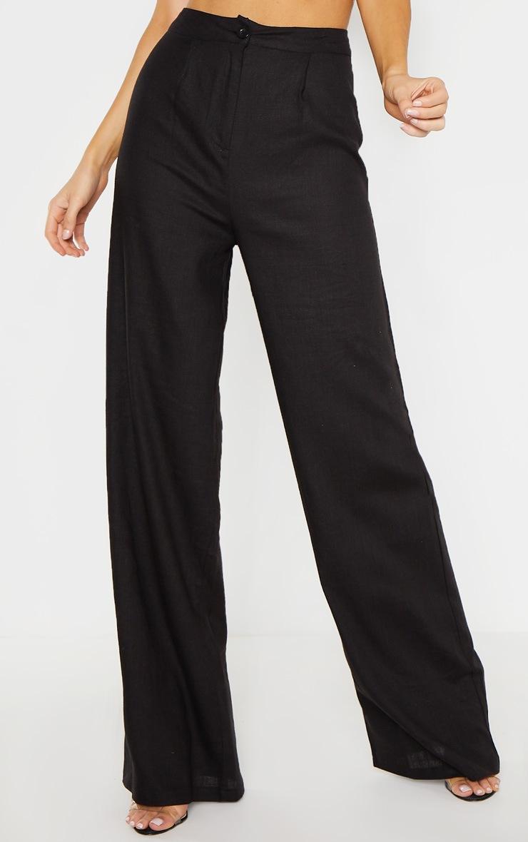 Tall Black Wide Leg High Waist Pant 2