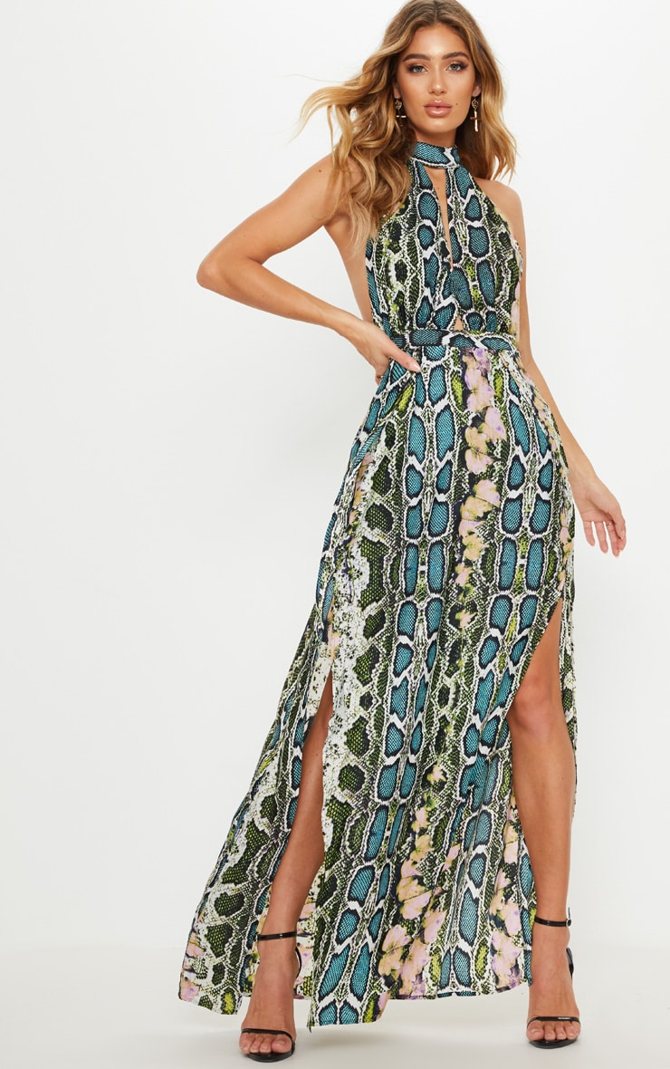 Green Snake Print Maxi Dress 1