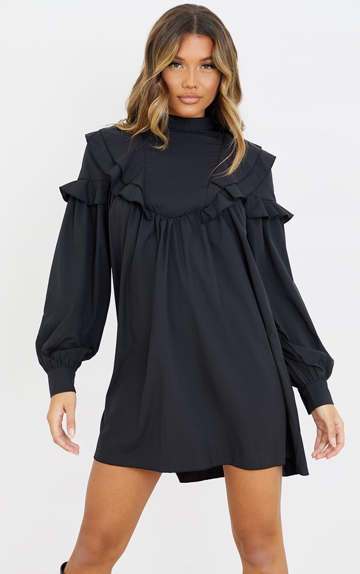 Black Frill Detail High Neck Smock Dress 3