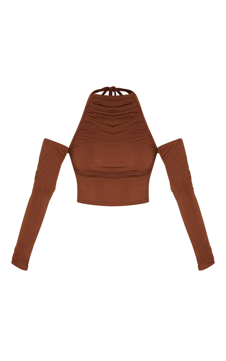Petite Chocolate Brown Cut Out Shoulder High Neck Long Sleeve Crop Top 3
