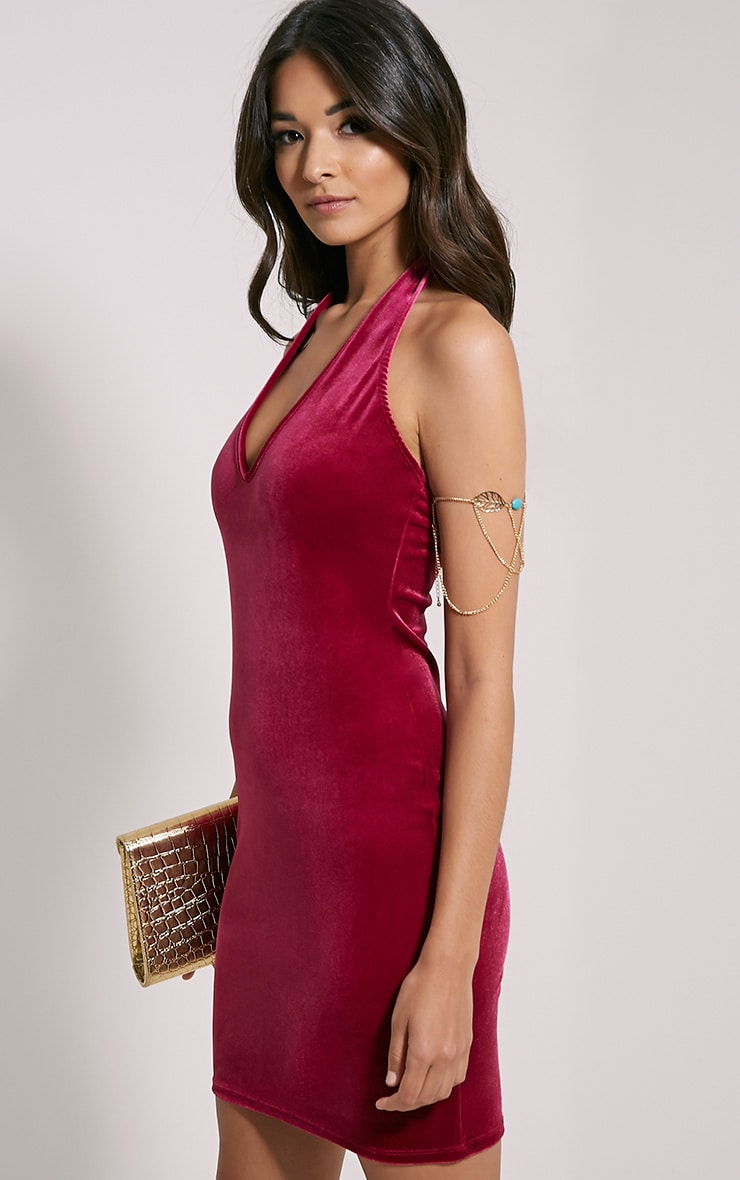 Suzie Cerise Velvet Mini Dress 1